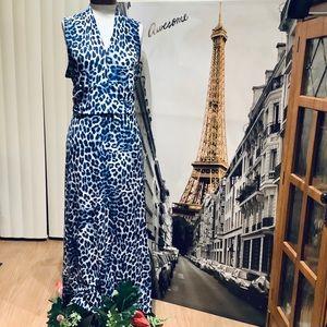 Vince Camuto Blue Leopard Plus Size Dress